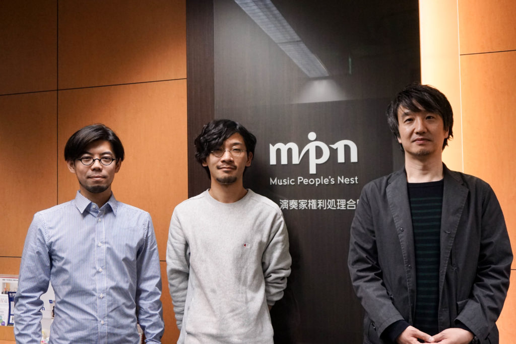 MPNの分配担当内海庸介さん、契約担当川住仁志さんとクリエイターちばけんいちさん